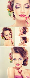 Charming woman, makeup, beautiful hairstyle - Stock Photo